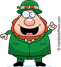 Leprechaun Idea - A happy cartoon leprechaun with an idea