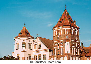 mir, azul, viejo, Torres, cielo, Belarus, soleado, Complejo,...