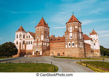 mir, azul, soleado, Belarus, cielo, Complejo, ocaso, backgr,...