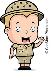 Safari Boy - A happy cartoon safari boy waving and smiling.