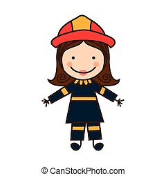 happy woman firefighter icon