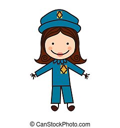 happy woman police icon