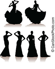 vector illustration set of various girls in long dress