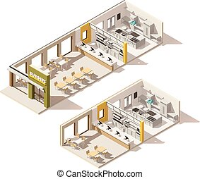 Vector isometric low poly fast food restaurant interior