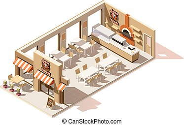 Vector isometric low poly pizzeria