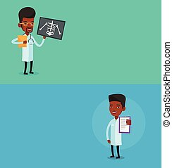 Two medical banners with space for text. Vector flat design....