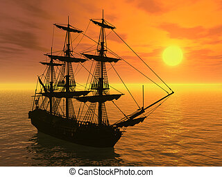 Tall Ship at Sunset - Tall Ship Sunset - 3D render