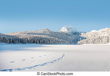 Snow covered Durmitor mountain in Montenegro