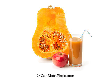half of pumpkin, pumpkin juice and apple isolated on white...