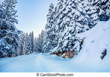 Snow covered road in mountains of Montenegro