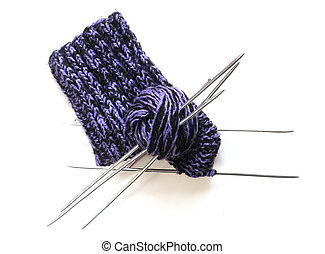 knitted socks - Wool knitted sock, yarn and knitting needles
