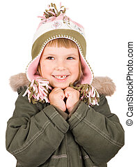 Child in winter clothes isolated on white