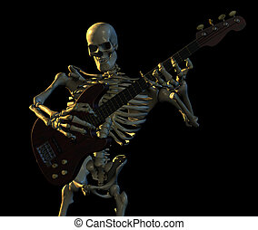 Skeleton playing guitar - 3D render