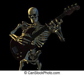 Skeleton playing guitar - 3D render