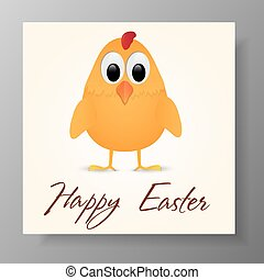 Happy Easter Greeting Card with chicken. Vector illustration.