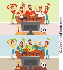 Groups of people watching a football match on TV - Two...