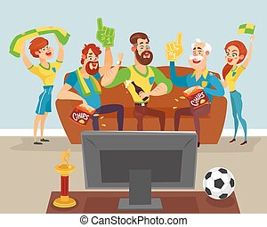 Cartoon family watching a football match on TV