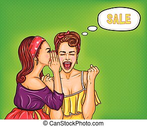 Two girlfriends girls discuss upcoming discounts - Vector...