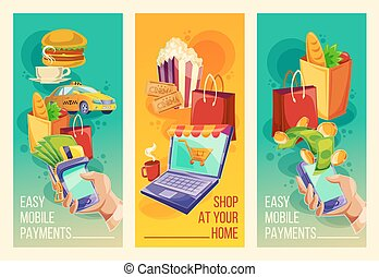 Set vector banners showing the ease and convenience of...