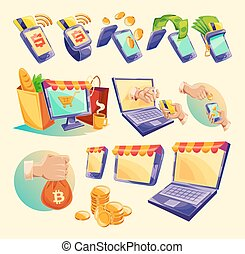Cartoon icons of devices for online payments - Vector...