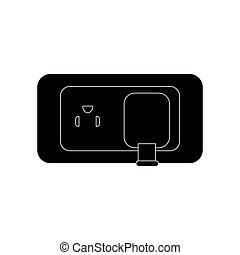 electric plug icon over white background. vector...