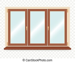 Realistic wooden plastic window. Vector illustration.