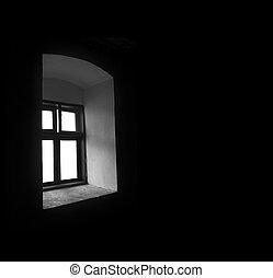 Vintage window in a dark room. - Vintage window in the dark...