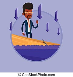 Businessman standing in sinking boat. - African businessman...