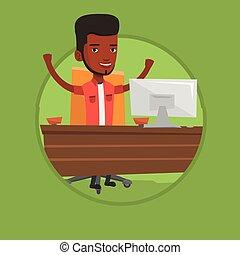 Successful business man vector illustration.