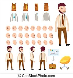 Male Character Constructor Isolated Illustration - Male...