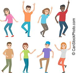 People Dance Illustration. Big Set of Characters - People...