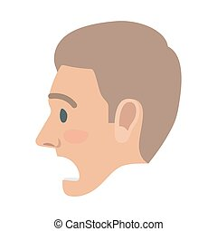 Surprised Man Face Flat Vector Icon - Surprised brown-haired...