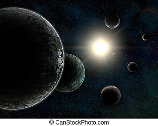 Unreal Trappist-1 exoplanets system - 3d render of unreal...