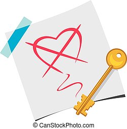 The key on a paper sheet. Vector illustration