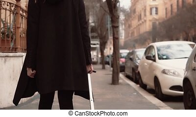 Female arrive in new city for business trip. Businesswoman...