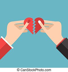 Hands holding heart halves - Man and woman hands holding...