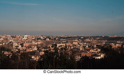 Panoramic view of the historic centre of Rome, Italy. Camera moving right.