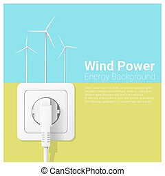 Green energy concept background with wind turbine and electric plug 1