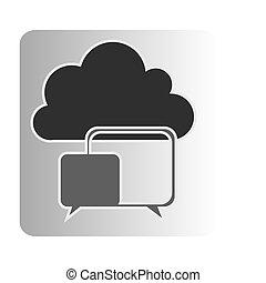 cloud chat bubbles network, vector illustration design