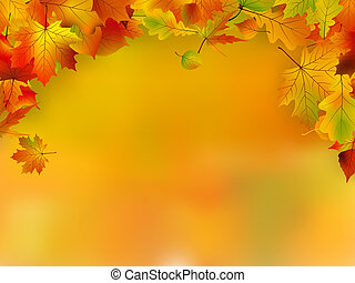 Autumn card of colored leafs with copy space