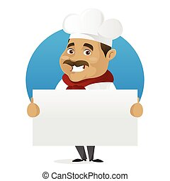 Chef holding blank sign