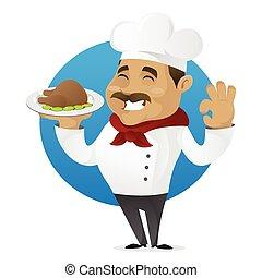 Chef serving chicken