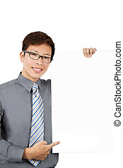 Young businessman with blank board isolated on white background