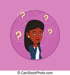 Young business woman thinking vector illustration.