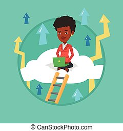 Business woman sitting on cloud with laptop.