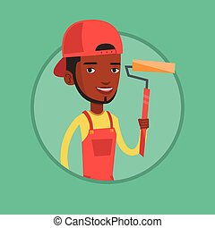 Painter holding paint roller vector illustration. - Young...