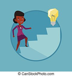 Business woman walking upstairs to the idea bulb. - African...