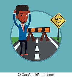Businessman looking at road sign dead end. - Man looking at...