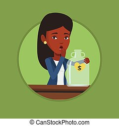 Bankrupt woman looking at empty money box - African worried...