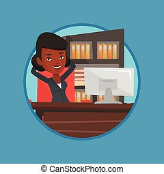Business woman relaxing in office.